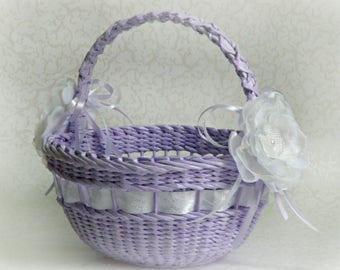 Storage Wicker basket Easter table runner Lavender wedding Ultra violet Gift for mam Easter Gifts Girls easter basket Basket with handle