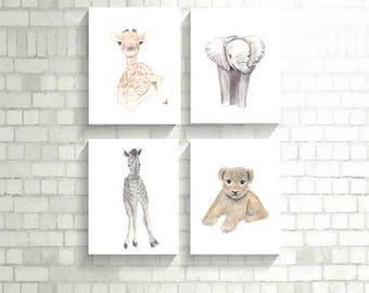 Safari Nursery Decor, Safari Nursery Art, Set of 4 Prints, Nursery Safari Animal Print, Set of 4 Nursery Art, Giraffe Print, Elephant Print