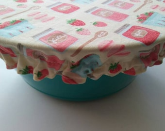 Reusable Bowl Cover, Strawberries,Fabric Bowl Cover, Ecofriendly Food Storage, Strawberry Jam, Cloth Bowl Cover