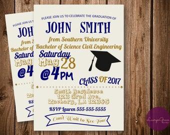 Blue and Gold Graduation Invitation, Printable grad party invite, digital download