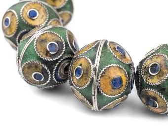 14 Unbelievable Berber Silver Beads - Handmade Enameled Moroccan Beads - Large Centerpieces for African Jewelry - Morocco (MET-BIC-MIX-129)