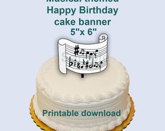 Musical note cake topper. 6in x 5in Printable download. Birthday party
