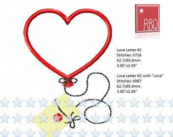 Heart Love Letter Balloon Shaped Flying Message Valentine sweet Embroidery Design Cute  PES many formats  Applique 4x4 + 5x7 hoop - Zip File