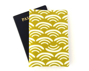 Japanese wave pattern passport cover, Holder for 2 passports, Yellow green or dark blue Unisex travel gift for men or women travelers Canvas