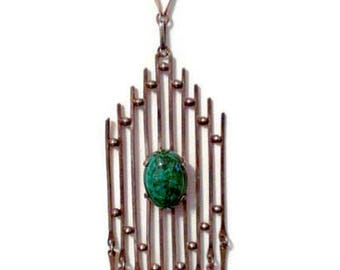 Long Modern Brutalist Sterling Silver Chrysocolla Eilat Necklace