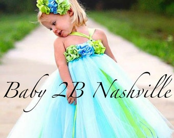 Flower Girl Dress  Wedding Flower Girl Dress in blue and Lime  All Sizes Girls