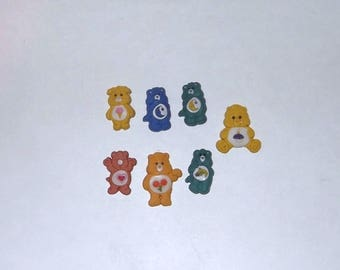 1980's Care Bear Shoe Rubber 7 Buttons Great for Crafts Tenderheart Nighttime Cousins Lot