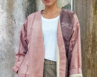 Kimono Jacket with Handwoven Cotton, Natural Dye - Nhai Kimono Jacket   Daria