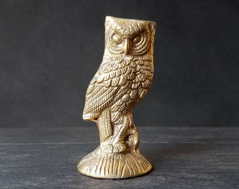 Small Brass Owl Figurine - Solid Brass - Gold Owl - Vintage