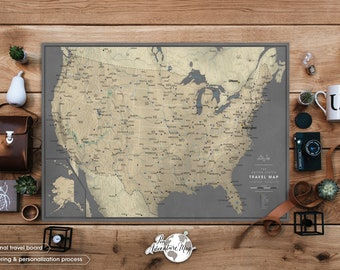 USA Family Road Trip Map with Push Pins - USA Map Poster -  various sizes and personalization options