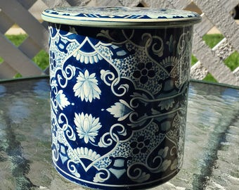 Vintage Delft Tin Metal Blue and White Dutch Canister Storage Tea - Made in Holland
