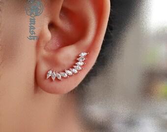 Solid 925 Sterling Silver ear crawlers,climbers,ear cuffs sweeps,ear dash,ear hoop huggies,cartilidge ear jackets, earrings,Gold cz earrings
