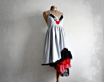 Silver Gray Bohemian Dress Red Heart Frilly Ruffles Eco Fashion Empire Waist Dress Reconstructed Clothing Women's Dress Medium 'OLIVIA'