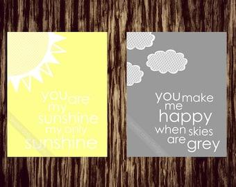 Nursery Print, You are my sunshine PRINTABLE, You are my sunshine wall art, Nursary Art, Baby Room Art, Grey and Yellow Baby Wall Artwork