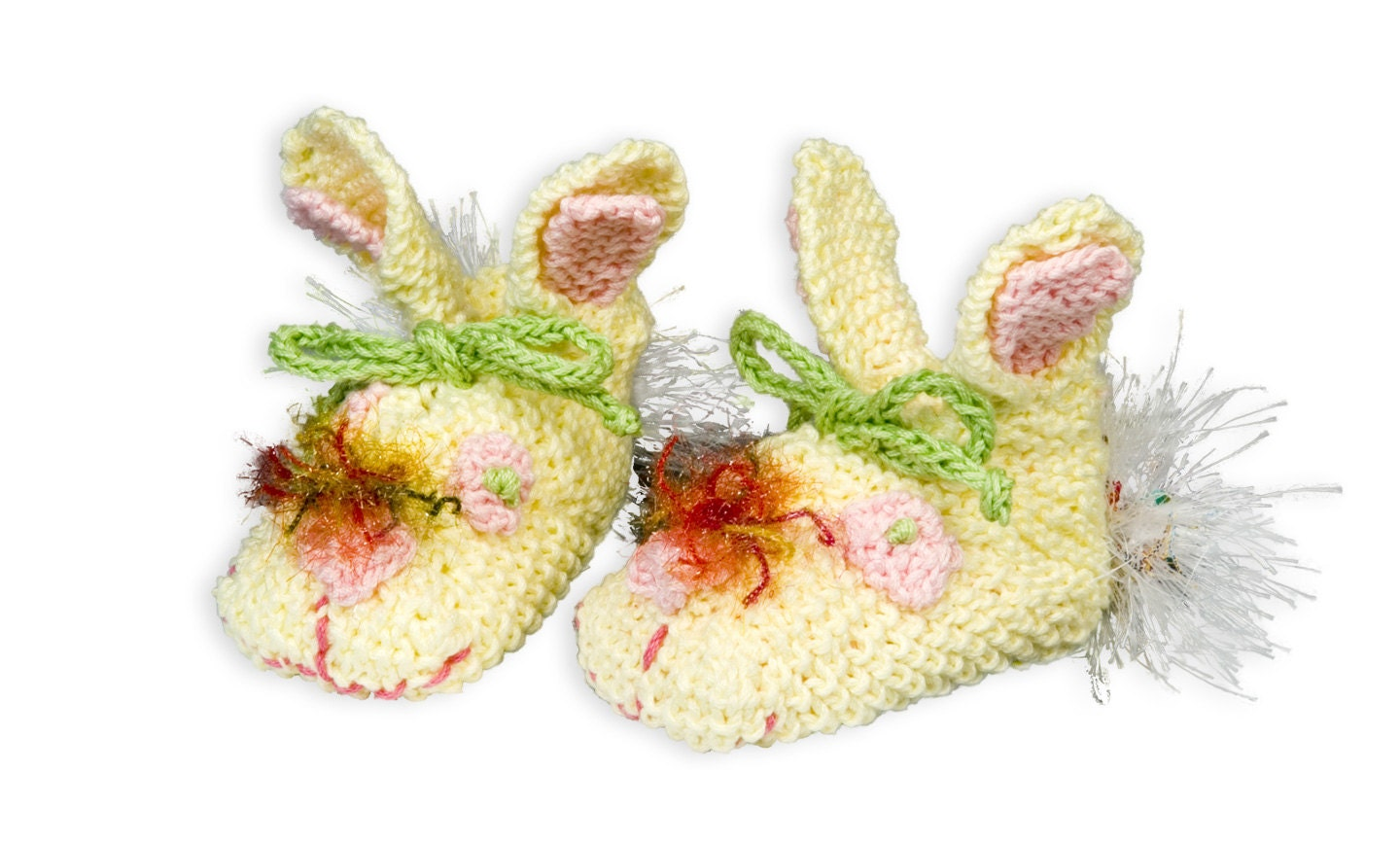 Bunny Booties Knitting MAIL PATTERN ONLY/Newborn to 8