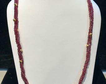Vintage Beaded Garnet Necklace VPL-18