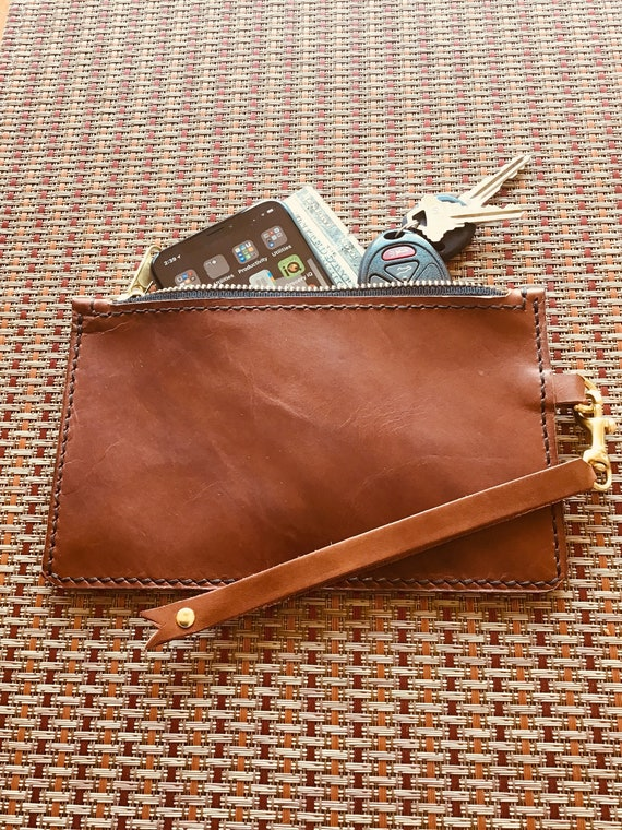 Handmade Leather Clutch/Wristlet