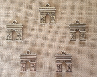 Arc De Triomphe Charms x 5.  French Charms.  Paris Charms. France Charms. Tibetan Silver.  UK Seller
