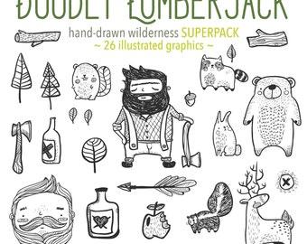 Cute Hand Drawn Lumberjack Doodles, Cute Lumberjack Illustrations, Lumberjack Clipart Doodles, Cute Lumberjack Digital Stamps Commercial Use