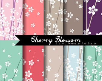Colorful Cherry Blossom-  INSTANT DOWNLOAD Spring Digital Paper Set