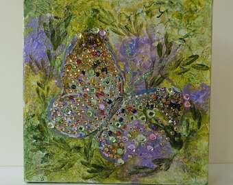 Butterfly collage on canvas block