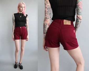 "Vtg 90s Burgundy Denim High Waisted Pin up Shorts 26"" Waist sz XS/S"