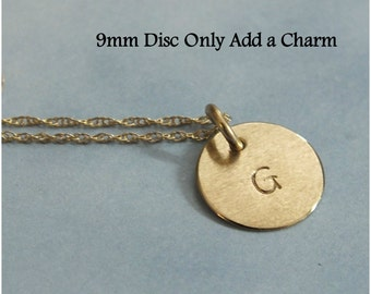 """14k Gold Tiny Initial Charm, 9mm Solid Gold Initial Charm, 3/8"""" 14k Minimalist Personalized Charm, 14k White Gold, 14k Rose Gold Add A Charm"""