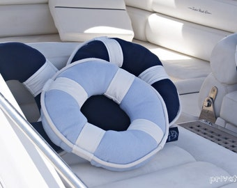 SALE -20% Lifebuoy Pillow Beach Cottage Style! Nautical Art. Maritime home decor. Blue pale pastel color, cotton rope. Spectacular gift!