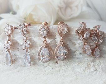 Bridal Crystal Drop Earrings, Pear Cubic Zirconia, CZ Studs Earrings, rose gold earrings, crystal pear shape, rose gold ANNA