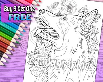 German Shepherd - Adult Coloring Book Page - Printable Instant Download