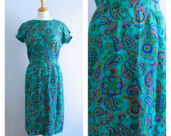 Vintage 1960's Teal Blue + Lime Green Paisley Wiggle Dress M/L