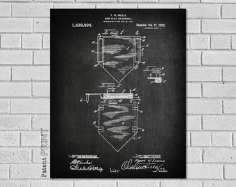 Baseball Patent Print - Baseball Home Plate - Baseball Poster - Baseball Decor -Baseball Decor - Baseball Wall Art - Baseball SB293