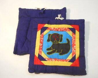 Embroidered Dog pot holder hand made