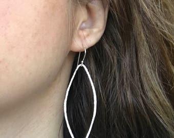 Large Hoop Dangle Earring- Sterling Silver Hoop Earring- Bohemian Hammered Statement Earring- Geometric Lightweight Drop Earring- Minimalist