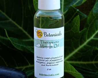 Massage oil with therapeutic essential oils for muscle pain relief and relaxation.