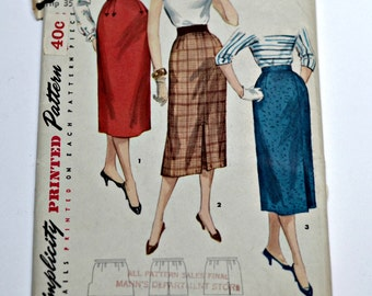 "Simplicity Pattern 1345 - One Yard Skirt - 1950s Skirt Pattern - Waist 26"""