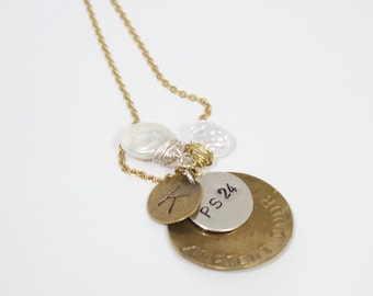 Hand-stamped Brass and Silver Dangle necklace with wire wrapped freshwater pearl and crystal