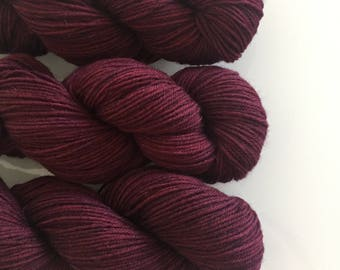 Hand Dyed DK BFL yarn in colourway Mrs Danvers 100g