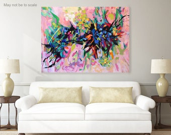 Large abstract art, pink painting, canvas painting, acrylic painting, abstract painting, wall decor, modern art, floral, original painting