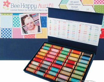 FREE Shipping! 45 Spools Lori Holt LIMITED EDITION Bee Happy Aurifil Thread Collection 50wt & 80wt