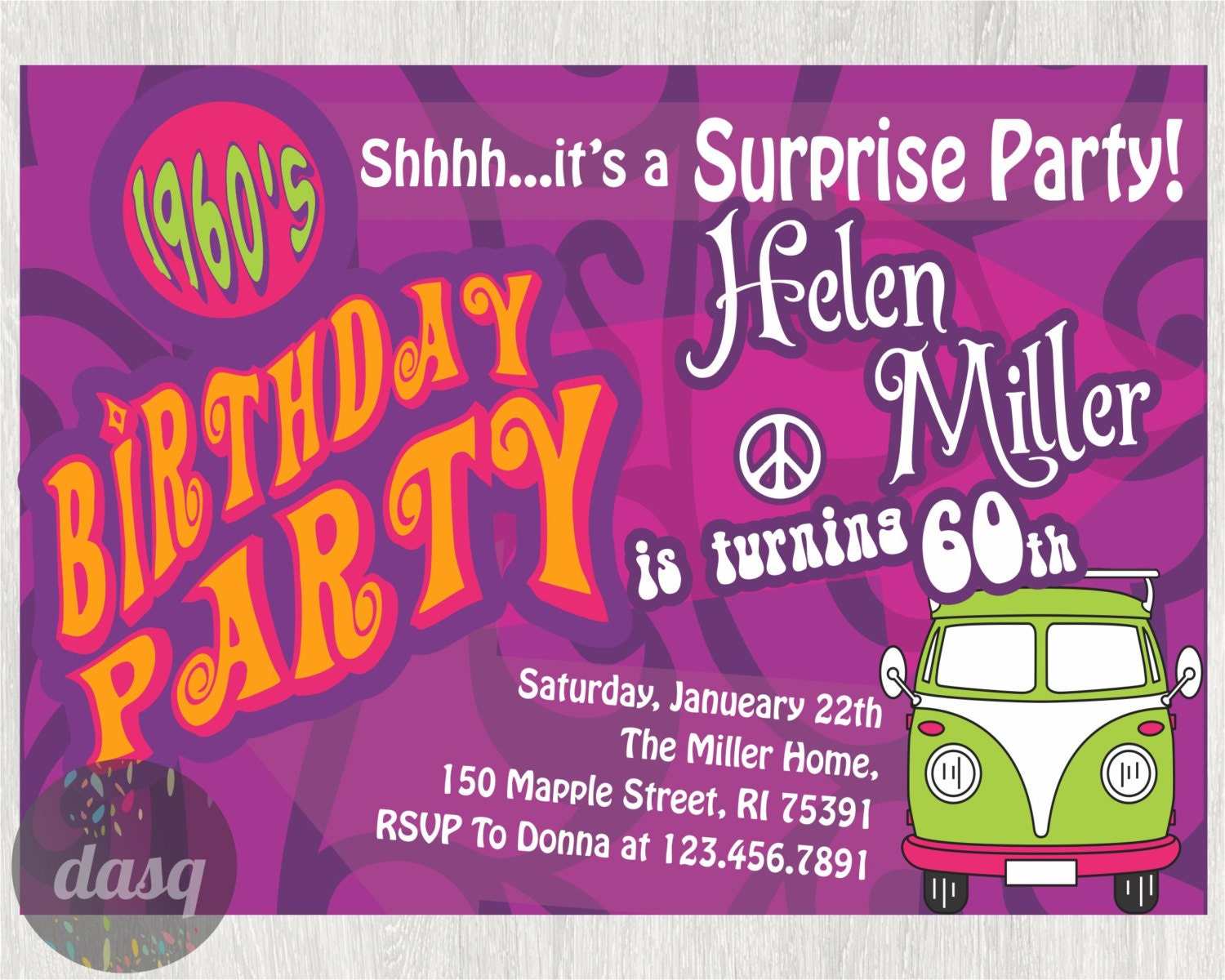 Hippie Birthday Party Invitations Hippy 60s Themed