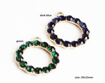 5PCS, 28x33mm, Crystal Circle Charms, Round Circle Charm, Crystal Pendant, Jewelry Charm, Bracelet Charm, Craft Supplies, Gold Tone