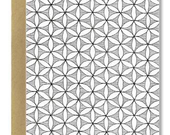 Poche Flower Pattern - A2 Card (Single or Set of 5)