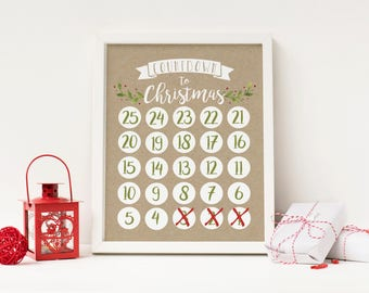 Countdown to Christmas - Advent Calendar Digital Print - Instant Download