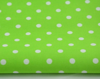100% cotton fabric piece 160 x 50 cm, textile printing, cotton 100% 7mm white polka dots on a background
