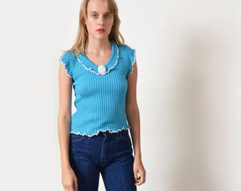 1970s Teal Knit Top with Rosette 70s Vintage Sweater Top  XS