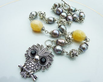 Owl Pendant on Grey Lilac Pearls and Yellow Butter Jade Necklace