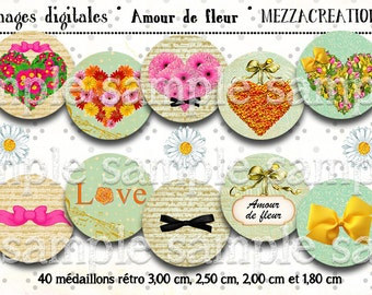 digital images * flower heart * bouquet love knot letter romantic collage digital scrapbooking cabochon jewel