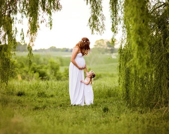White mommy and daughter set/jersey maternity gown/flower girl