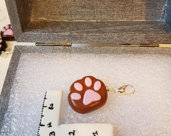 Charms / caramel polymer clay cat footprint charm
